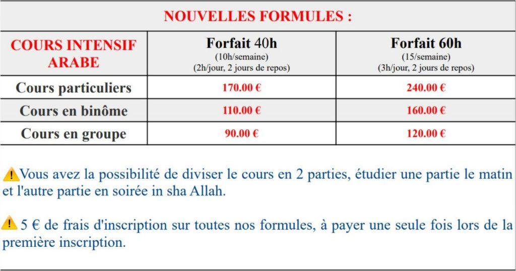 Tableau des nouveaux tarifs des formules de cours 2020.